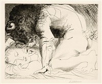 minotaure caressant du muffle la main d'une dormeuse, pl. 93 (from suite vollard) by pablo picasso