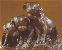 three puppies looking down toward a lizard by georges lucien vacossin