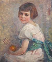jeune fille à la ceinture émeraude by georges (ferdinand) lemmers