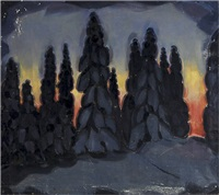 wintery forest in the evening sun by h. (einar reuter) ahtela