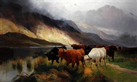 highland cattle by a lochside by h.r. hall