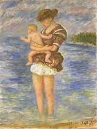 young mother with baby by the sea by waldo peirce