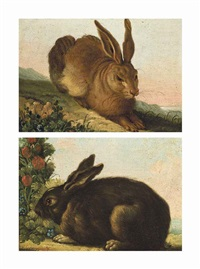 a hare in a landscape; and a rabbit by a bush (pair) by albrecht dürer