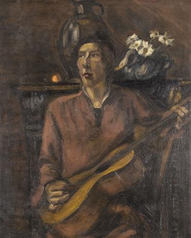 guitariste en rouge by henri le fauconnier