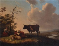 a sheperdess and her daughter tending cattle in a river landscape by matthijs quispel