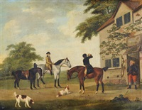 horse-mounted gentleman and spaniels before an inn by john nost sartorius
