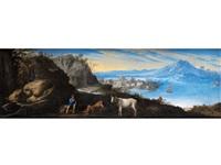 paesaggio con pastori, una mucca e un villaggio costiera sullo sfondo (landschaft mit hirten, einer kuh und einem küstendorf) by herman van swanevelt