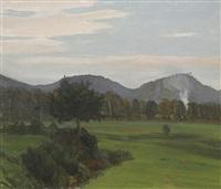 herbstlandschaft mit bergen by gustav kampmann