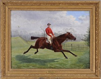 sam basden in red silks atop a race horse by george arnull