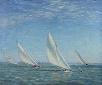 yachts approaching a windwardmark, close-hauled by alice maud fanner