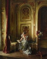 junge dame bei der lektüre im salon by wilhelm kreling