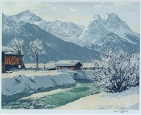 alpine valley in winter (+ salzburg in summer; pair) by hans figura