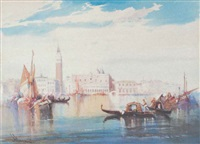 fishing craft and gondolas on the lagoon, venice by william knox