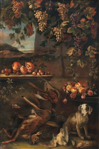 nature morte con cacciagione (coppia) by franz werner von tamm