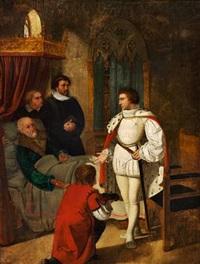 cansleren niels kaas, som paa sin sotteseng giver christian iv nøglen til rigets klenodier by detlev konrad blunck