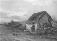 chickens and a pig outside a roadside cottage by james, r.h.a. grey