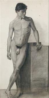 stehender männlicher akt von vorne mit gekreuzten beinen, den linken arm aufgestützt - bärtiger männlicher akt im dreiviertelprofil nach rechts, einen stab in den erhobenen händen haltend. aktstudien (2 studies) by wilhelm trübner