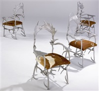 replicated caribou antlers chair (set of 4) by arthur court