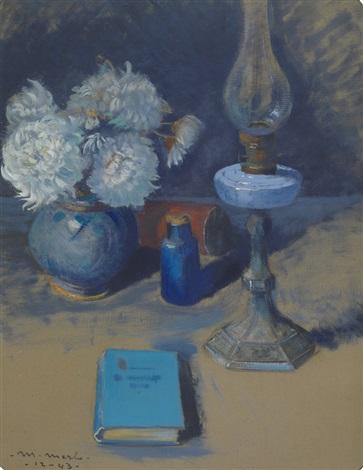 vaso con fiori lampada e libro by metello merlo