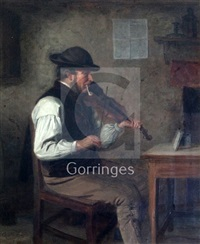 Interior with fiddler smoking a clay pipe