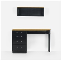 desk with wall shelf by eliel saarinen