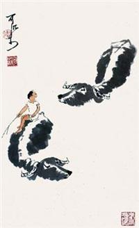 双牛淌水 by li keran