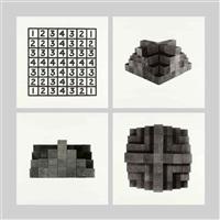 3 photographs + 1 diagram (row c) by mel bochner