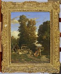 deux enfants jouant devant un puits by constant troyon