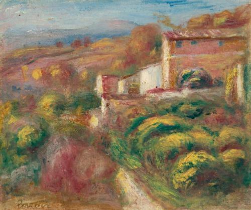 paysage avec maisons à cagnes by pierre auguste renoir