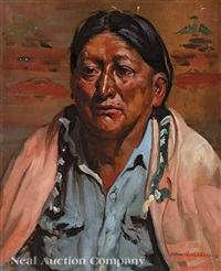 portrait of an american indian by oden hullenkramer