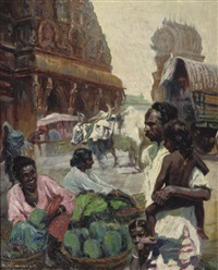outside a tempel in colombo, sri lanka by franz kienmayer