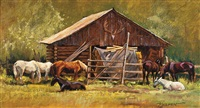 barn with horses by william j. koelpin
