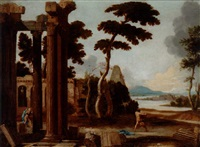 ruinlandskap med simson och lejonet by thomas blanchet