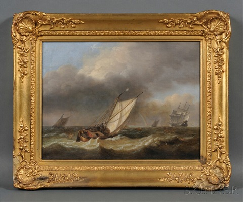 fishing boat and distant vessels with approaching storm by thomas luny