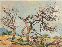 withered firs & gravel pits, kenilworth, cape by gregoire johannes boonzaier