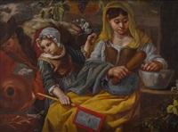 küchenszene mit einem bauernpaar und einem mädchen by bernhard keil