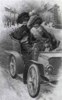 weihnachtseinkäufe: 2 damen im automobil by josef kranzle