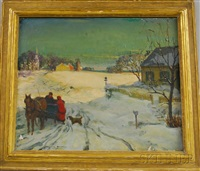 winter landscape with horse-drawn cart by harold matthews brett