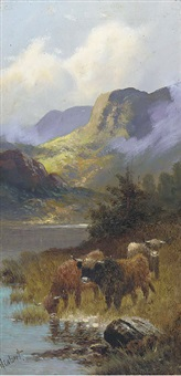 highland cattle watering (+ highland cattle at the waters edge; pair) by henry calvert
