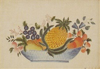 a theorum with pineapple, strawberries, peaches and other fruit in a blue basket by sarah ann henshaw ward