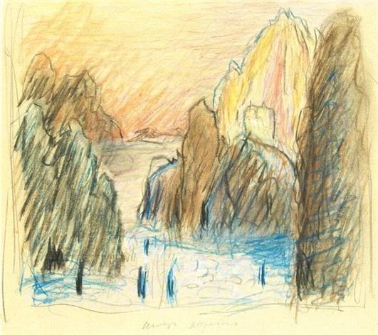 landschaft mit ruine by marianne werefkin