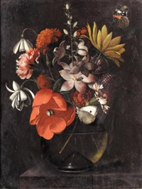 still life with various flowers in a glass vase on a ledge by martinus nellius