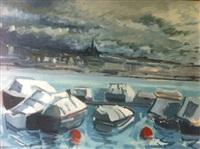genève - bateaux amarrés au débarcadère, côté paquis by wilhelm goliasch