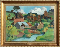 village au bord de l'eau by pierre-edmond peradon