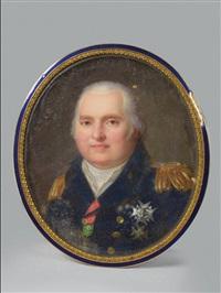 portrait de louis xviiième (1755-1824), roi de france (1814-1824) en habit militaire portant l'ordre du saint-esprit by jean baptiste jacques augustin