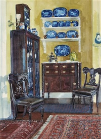 blue and gold/a home interior by louis charles vogt