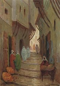 rue a algiers - streetview in algeria (+ olive mount, jerusalem; 2 works) by johan van der bilt