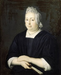 portrait of a lady, half-length, wearing a black dress with lace chemise and bonnet, holding a fan by martinus de la court
