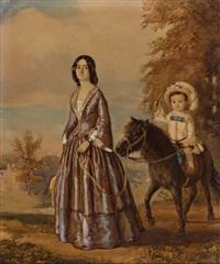 portrait einer eleganten dame und ihres pony reitenden sohnes by john cawse
