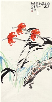 花卉 镜心 设色纸本 by liu wenxi